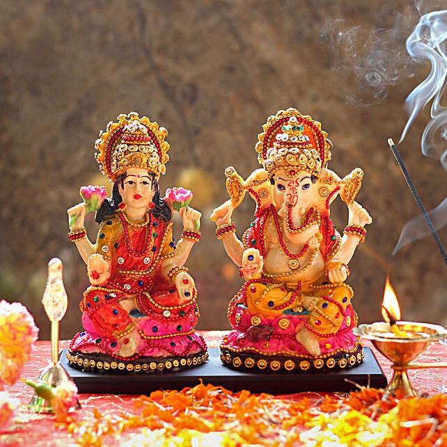 Multi colored Lakshmi Ganesha Statue:Laxmi Ganesh Idol