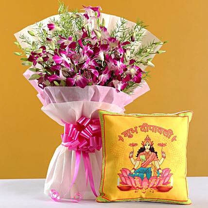 Online Lakshmi Maa Diwali Cushion And  Orchids