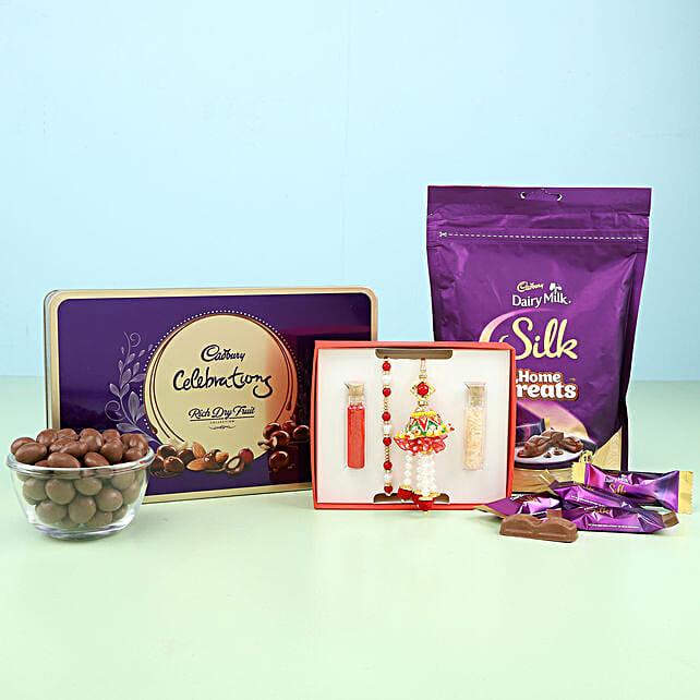 pearl n lumba rakhi set with chocolate combo online:Rakhi Gifts to Kozhikode