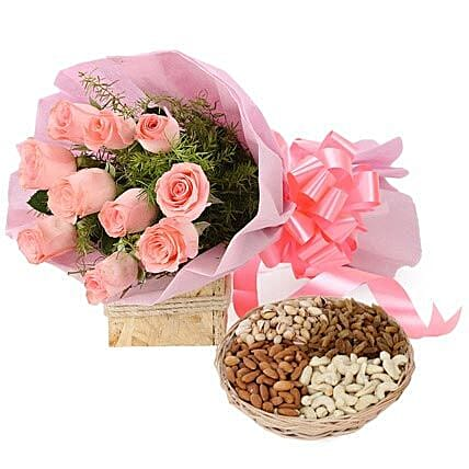 Mix dry fruits with flower bouquet
