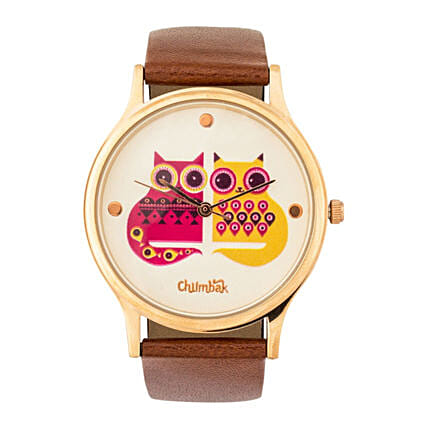 Leather Strap 2 Cats Wrist Watch