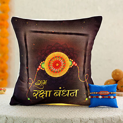 pearl rakhi wth printed led cushion combo