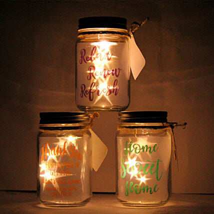 LED Star Mason Glass Jar with Happy Quote:Show Pieces