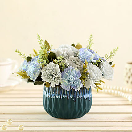 online blue artificial carnations in green pot online