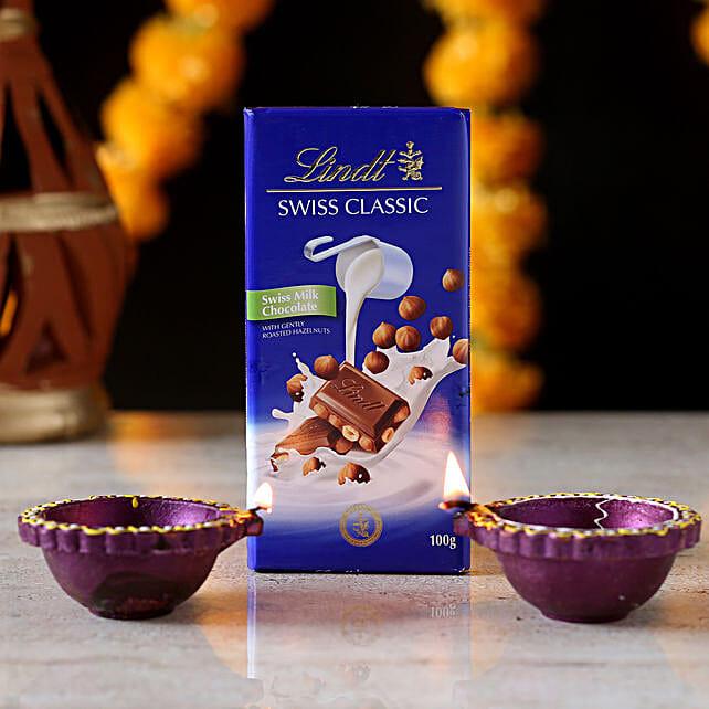 swiss chocolate n diya for diwali