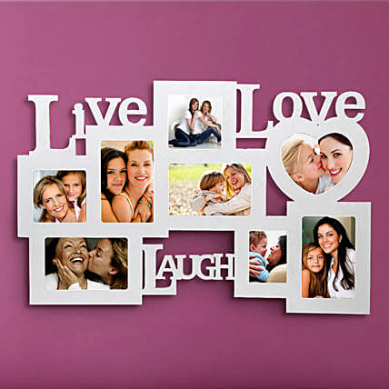 Live Love Laugh-White Live love laugh wall 24x15 personalized photo frame:Mothers Day Photo Frame Gifts