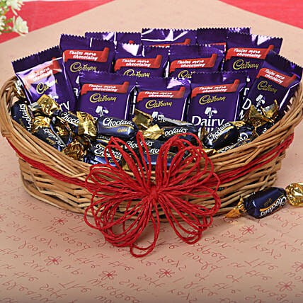 Cadbury Chocolate and Candy Basket chocolates choclates:Send Diwali Gift Baskets