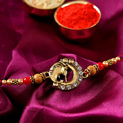 Lord Ganesha Golden Rakhi