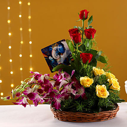 Buy Ganesha Table Top And  Bouquet
