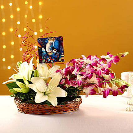 Online Lord Ganesha Table Top With Lily And:Flower Basket