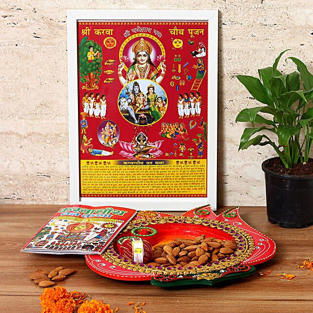 flower shape karwa chauth thali