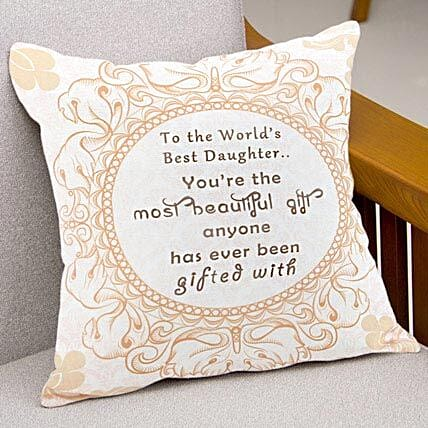 Love and Comfort-12x12 inches Printed Beige,White Cushion