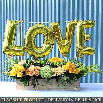 Love Balloon And Premium Mixed Flowers Arrangement
