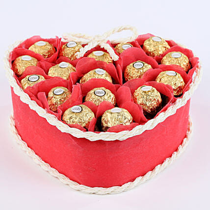 Gift set of ferrero rocher chocolates and artificial rose petals chocolates