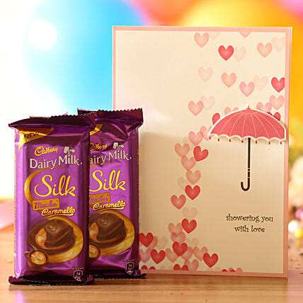 love message greeting with chocolate combo online:Romantic Chocolate Gifts