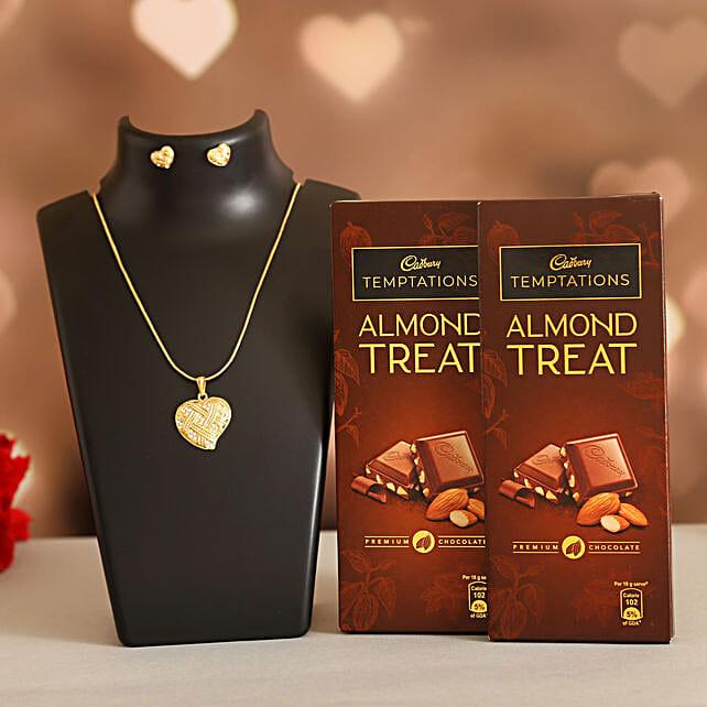 Love Heart Necklace Set Cadbury Almond Treats:Ilina Gift Sets