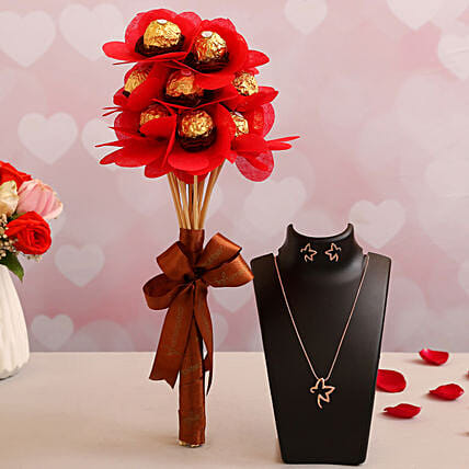 Ferrero Chocolates with Necklace for Her
