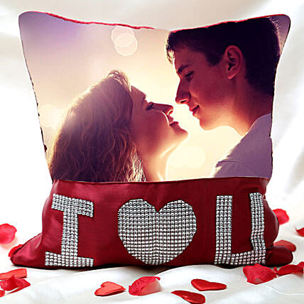 I Love You Personalized Cushion Valentine:Personalised Cushions - Love