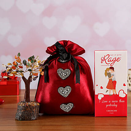 Love You Crunchy Chocolate In Red Potli & Wish Tree Online:Send Valentines Day Wish Trees
