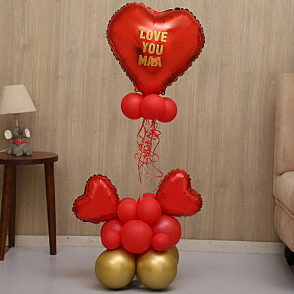 Love You Maa Red And Golden Balloon Bouquet:Balloon