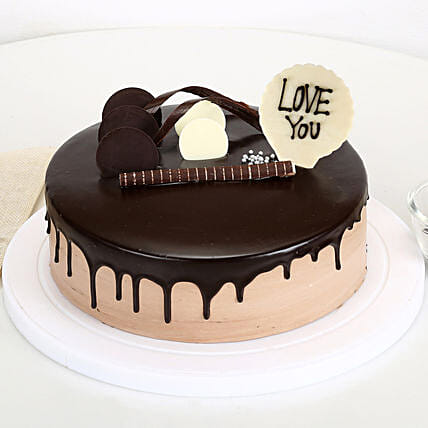 Online cream cake with love you topper:Cakes to Bilaspur