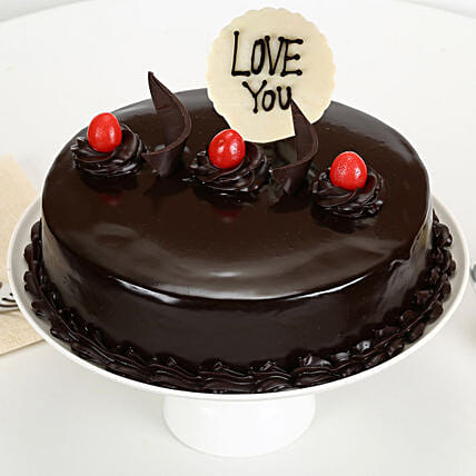 Truffle cake with Edible Topper:Romantic Couple Cake