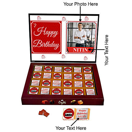lovely personalised chocolate for him:Customised Chocolates