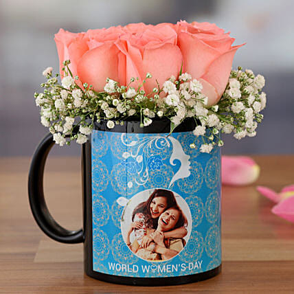 Lovely Pink Roses In Women Day Special Mug