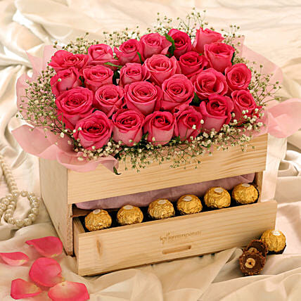Lovely Roses Ferrero Rocher Wooden Arrangement