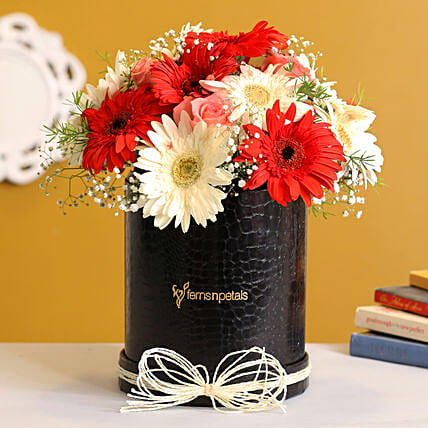 Lovely Roses Gerbera Floral Box:Gerberas Flower