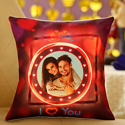 Lovey Dovey Personalised LED Cushion:Cushions for anniversary