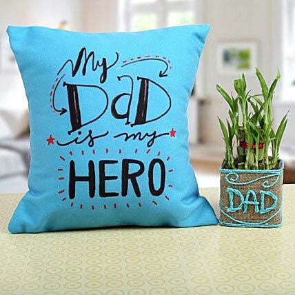 Combo of Lucky Bamboo & Printed Cushion for Dad