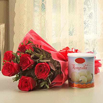 Lucky N Love - Bunch of 6 Red Roses with Rasgulla 1kg.:Send Flowers & Sweets
