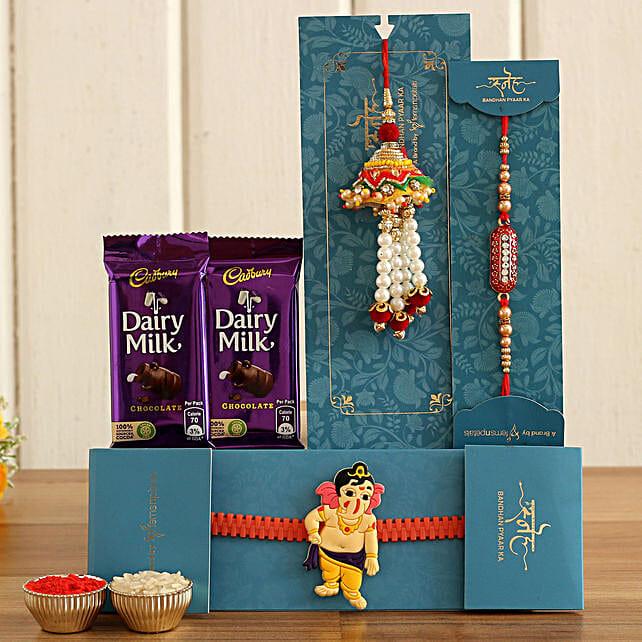 lumba rakhi n kid rakhi set with chocolate bars:Rakhi Set of 3