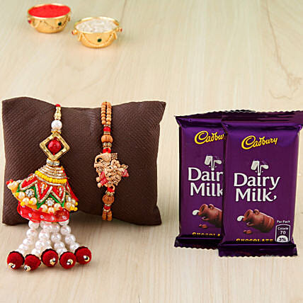 Lumba and ganesha rakhi combo with chocolates online