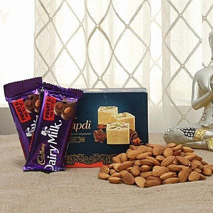 Chocolates with sweets and dry fruits