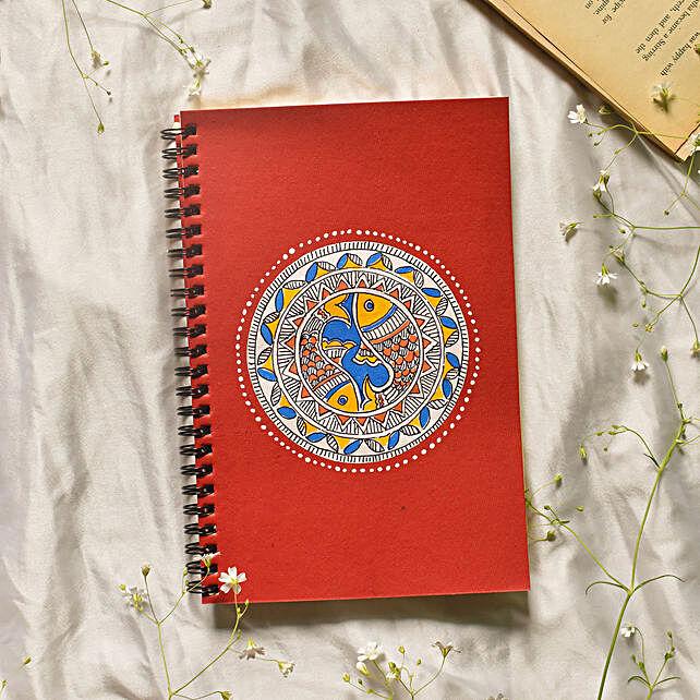Madhubani Fish Bowl Handpainted Red Notebook