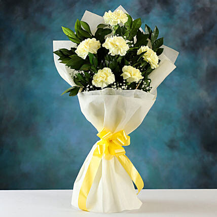 Order Online Yellow Carnations Bunch:Birthday Flowers for Husband