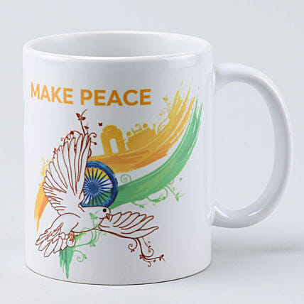 make peace white printed mug