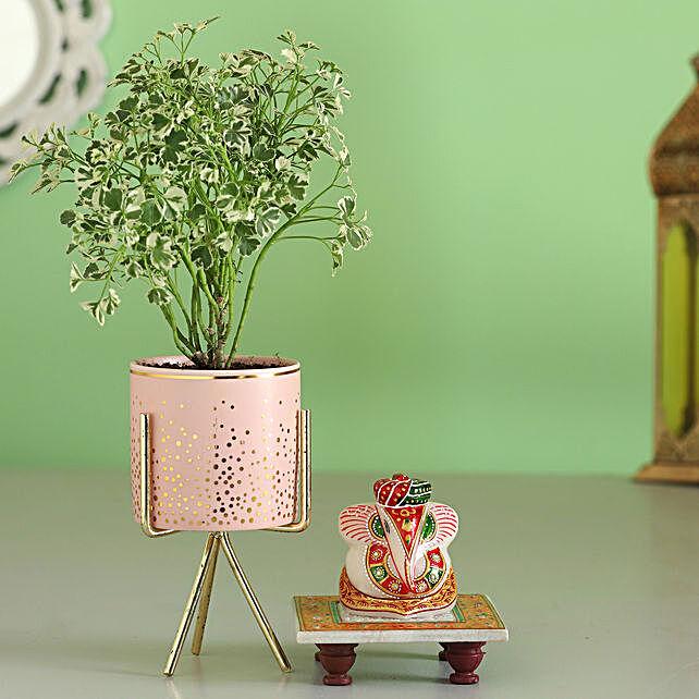 marble ganesha idol with aralia plant for diwali