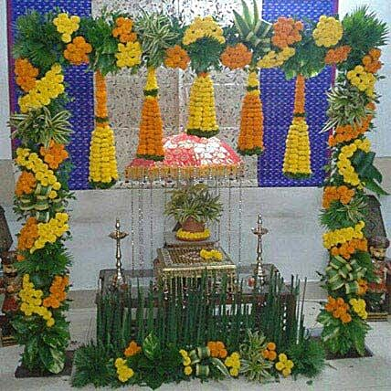 Marigold N Leaves Flower Decoration:Janmashtami Gifts