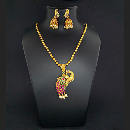 Maroon Green Peacock Design Necklace Set