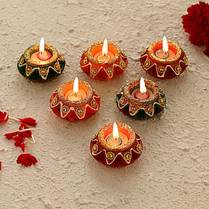 Decorated Matki Diyas for Diwali