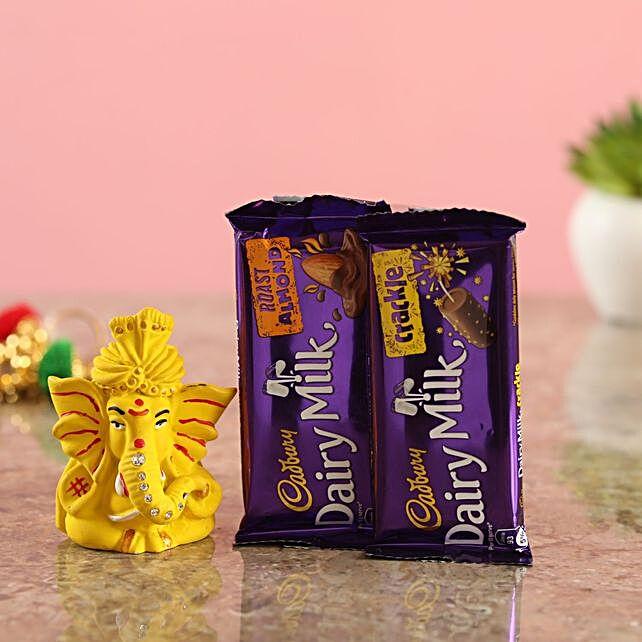 Matte Yellow Ganesha Idol Cadbury Delights