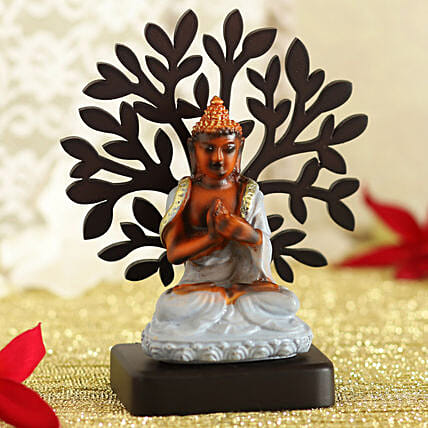 Meditating Buddha Idol Under A Tree:Home Decor for Diwali