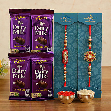 meenakari n capsule rakhi with chocolates:Send Designer Rakhi