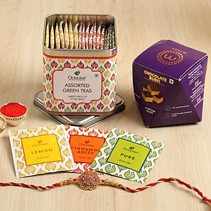 Meenakari Rakhi With Tea Bags & Burfi