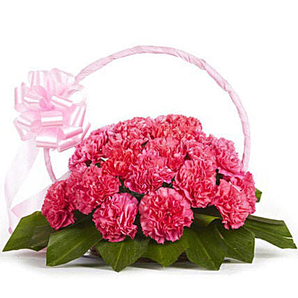 Memorable Moments - Basket arrangement of 20 pink carnations.:Flower Basket Arrangements