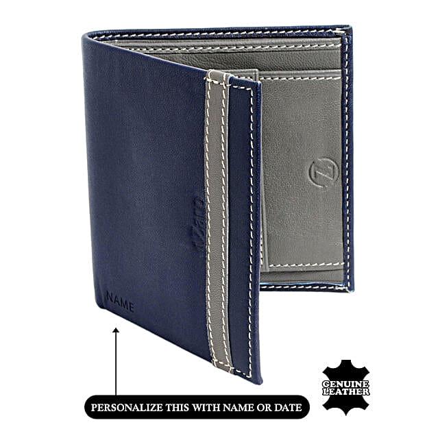 Online Grey and Blue Bi Fold Wallet