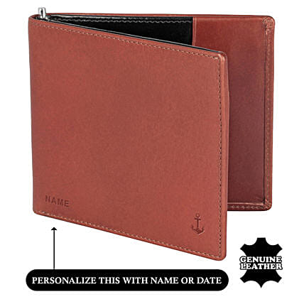 Online Men's Bi- Flod Tan And Blue Wallet